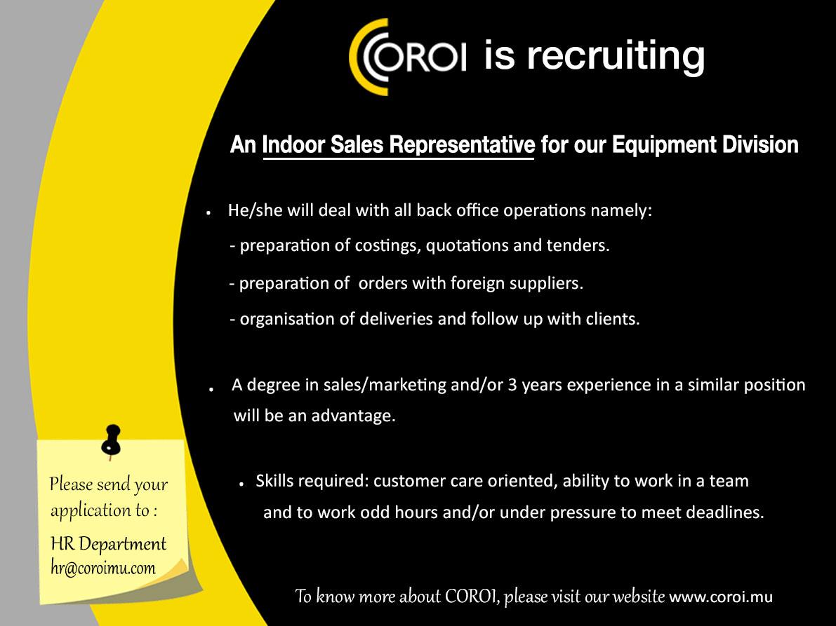 career coroi indoor s representation equipment division